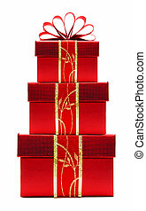 rosso, regalo natale, scatole, accatastato