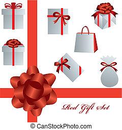 rosso, regalo, set
