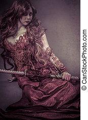 rosso, regina, katana, bella donna, vestito, in, rosso, armatura, drago, scale