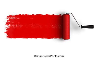 rosso, rullo, spazzola, con, traccia, segno, scia, di,...