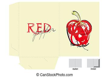 rosso, sagoma, pepe, cartella