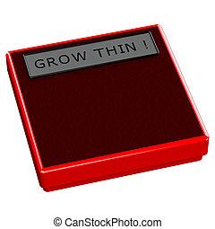 rosso, scala, con, parole, crescere, magro