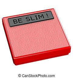 rosso, scala, con, parole, essere, magro