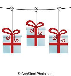 rosso, scatole regalo, appendere, uno, cordicella