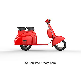 rosso, scooter, -, vista laterale