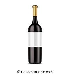 rosso, scuro, isolato, vino, bottiglia, alcool