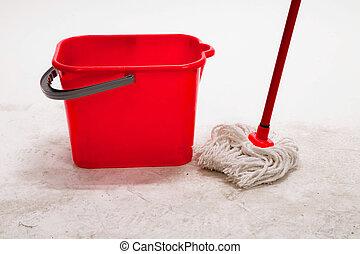 rosso, secchio, con, pulizia, mop.