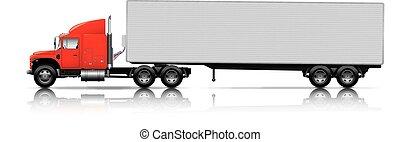 rosso, semi-camion, con, roulotte