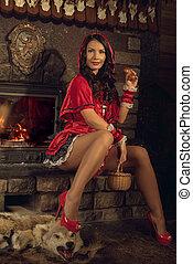 rosso, sentiero per cavalcate, cappuccio, seducente