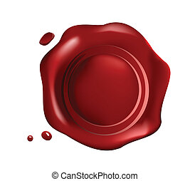 rosso, sigillo cera, con, piccolo, gocce