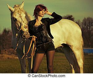 rosso, signora, con, maestoso, cavallo