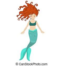 rosso, sirena, fondo., bianco, isolato, haired