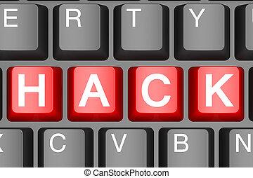 rosso, spaccare, bottone, su, moderno, tastiera computer