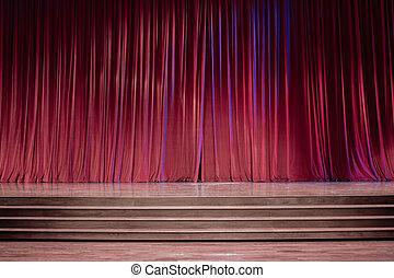 rosso, stage., vecchio, tenda