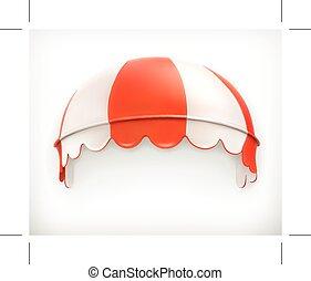 rosso, strisce, tenda, bianco