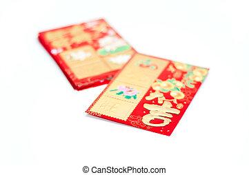 rosso, tasche, per, anno nuovo cinese