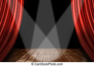 rosso, teatro, palcoscenico, fondo, con, 3, riflettori,...