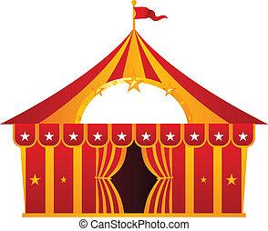 rosso, tenda circus, isolato, bianco