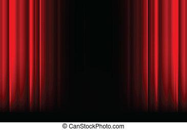 rosso, tenda scenica, con, luce, uggia, e, nero, spazio