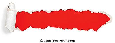 rosso, testata, in, carta lacerata, buco