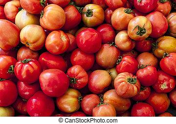 rosso, tomatoes., villaggio, mercato, organico, tomatoes.,...