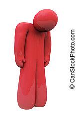 rosso, triste, persona, solo, isolato, depressione, sentimenti, emozione