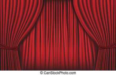 rosso, velluto, fondo, curtain.