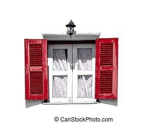 rosso, vendemmia, windows, bianco, parete