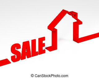 rosso, vendita, casa, metafora