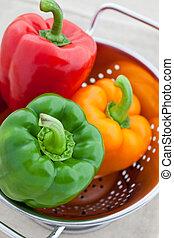 rosso, verde, e, arancia, pepe campana