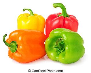 rosso, verde, giallo, e, arancia, pepe campana, isolato