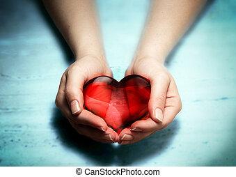 rosso, vetro, cuore, in, donna, mani
