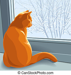 rosso, vettore, inverno, fare un sogno, gatto
