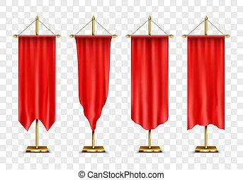 rosso, vettore, pubblicità, banners., lungo, sport, set, ...