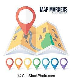rosso, vettore, punto, pennarello, su, giallo, mappa urbana, in, appartamento, stile