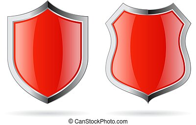 rosso, vettore, scudo, vetro, icona