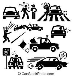 rossz, autó, sofőr, dühös, vezetés