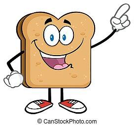 rostat bröd, lycklig, skiva, pekande, bread