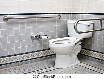 rostfri, stöd, bommar för, in, handikapp, badrum