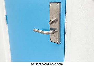 rostfritt stål, dörr hantera, in, hotell