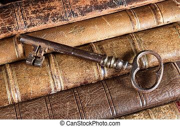 rostig, böcker, gammal, nyckel