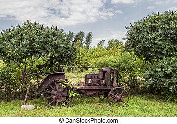 rostig, gammal, traktor