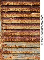 rostig metall, struktur, med, stripes