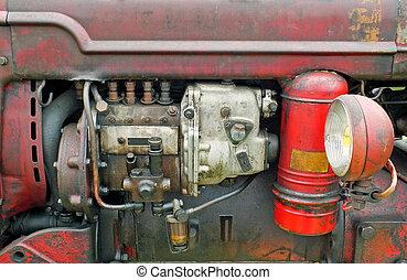 rostig, röd, gammal, traktor, tillsluta, pannlampa, bodywork, motor, årgång