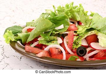 rostlina, čerstvý, salát
