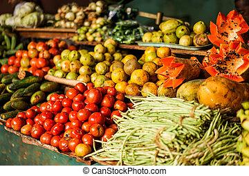 rostlina, obchod, s, smíchaný plodiny, a, zelenina