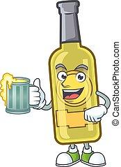 rosto, amarela, vidro, champanhe, cerveja, feliz, garrafa
