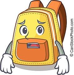 rosto, amedrontado, escola brinca, olhar, mostrando, quadro, mochila