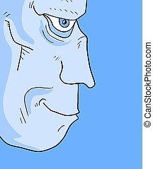 rosto azul