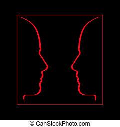 rosto, conversação, comunicação, rosto